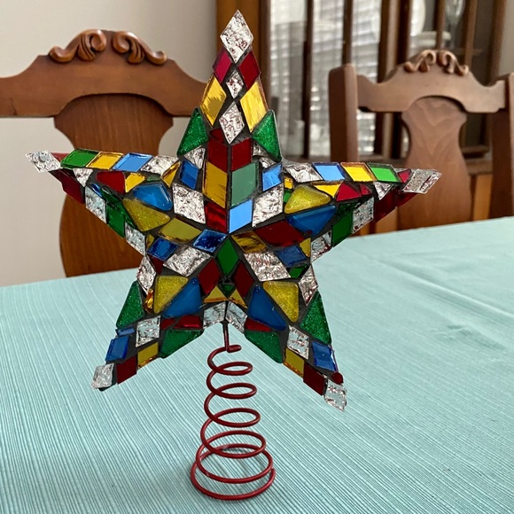 Vintage stained glass and metal star tree topper